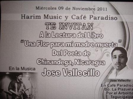 José Vallecillo, poeta nicaragüense en Café Paradiso